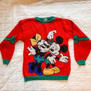 Vintage Christmas Disney Mickey Minnie Sweater